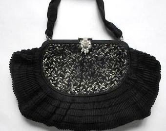 Vintage 1930s  Small Black Evening Bag Purse Rhinestone Clasp Art Deco