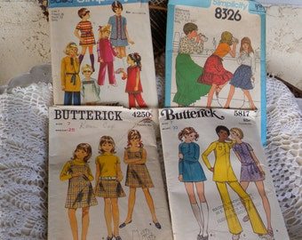 Set of Four Vintage 1970s Childrens' size 7 SEWING Patterns Complete