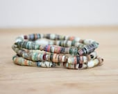Boho Recycled Book Bead Paper Bracelet Set, Made With Recycled Book Pages, Earthy Bracelet, Organic Bracelet