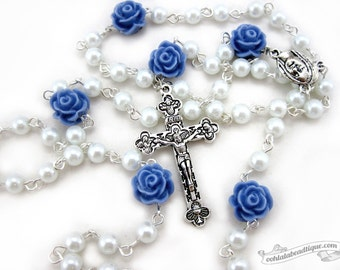Virgin Mary rosary, white rosary, confirmation gift, communion rosary, catholic gift, pearl rosary, baptism rosary, rosary necklace, gift