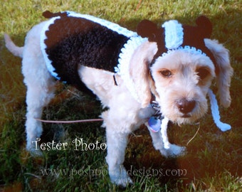 Instant Download Crochet pattern - Skunk Dog Costume - Sweater and Hat small Dog 2-20 lbs