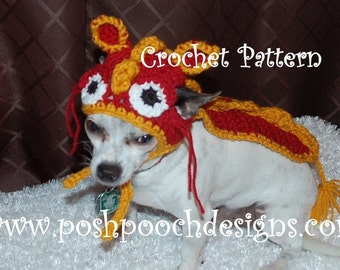 Instant Download Crochet Pattern- Dragon Dog Hat and cape - Small Dog Beanie