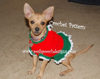 Instant Download Crochet Pattern - Christmas Sweater Dog Dress -  Small Dog Sweater 2-20 lbs