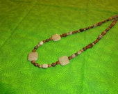 18mm Fossilized Coral Squares Necklace with Jasper and Copper spacers