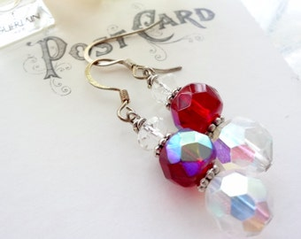 Vintage Glass Bead Earrings with Ruby Red Faceted Beads