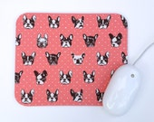 French Bulldog Mouse Pad /  Pink and White / Modern Home Office Decor / Japanese Canvas Fabric