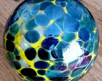 Vintage Hand Blown Glass Art Globe Sculpture, Blue, Yellow, Black Ball