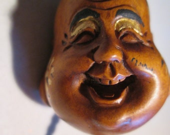 totem BUDDY, netsuke, hand carved wooden, painted, embelished.....FULL BUDDHA head bead...