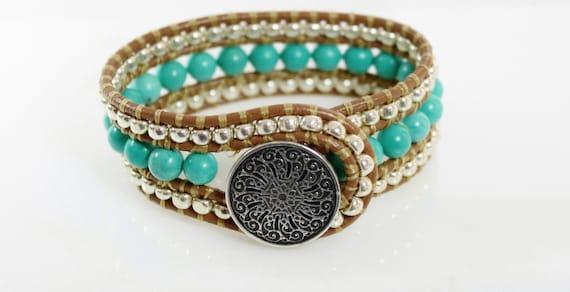 Turquoise leather cuff - three row beaded leather wrap bracelet - southwestern style jewelry - bohemian bracelet