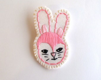 Easter bunny brooch hand embroidered jewelry in pink and black with gray listing is for ONE brooch