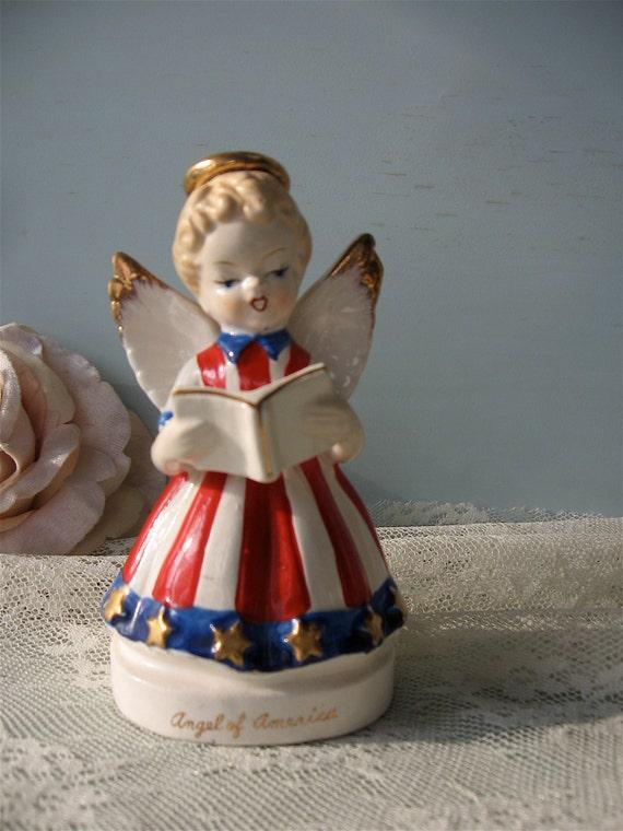Vintage Angel of America Figurine / Rare July Birthday Angel / 1958 Artgift Co Figurine