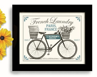 Vintage Modern Laundry Room Decor French Laundry Kitchen Art Sign Wall Art Print