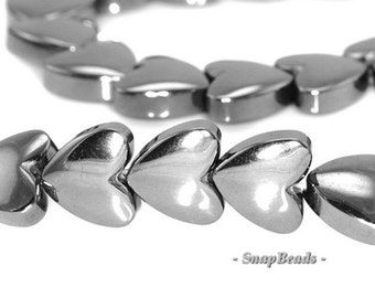 6mm Noir Black Hematite Gemstone Black Love Heart 6x6mm Loose Beads 16 inch Full Strand (90147106-336)