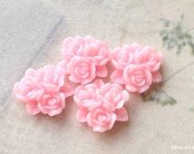 15 mm Pink Resin Flower Cluster Cabochons (.ag)