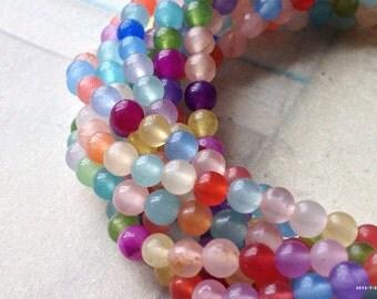 4 mm Pastel Round Flower Jade Gem Stones of Assorted Colors (.mns)(gz)