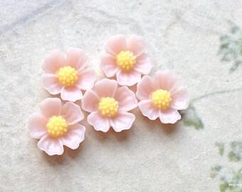 11 mm Tan Brown Resin Flower Cabochons  (.s)