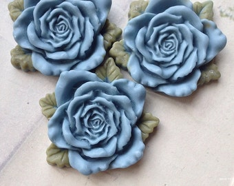 40 mm Grey Resin Rose Cabochon  (t.t)