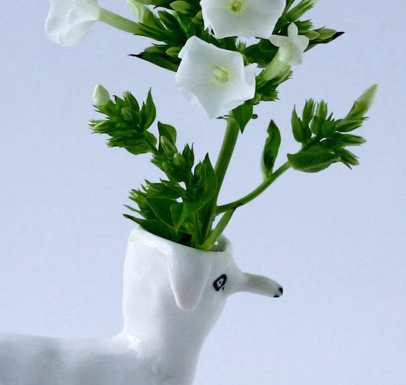 Petite Flower Dog Vase
