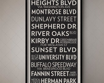 Houston Texas Vintage Transport Art Bus Roll Sign, Bus Blind, Bus Scroll, Subway Art, Subway Decor, Transport Design, Transit Art, Home Art