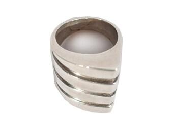 Vintage Sterling Silver Ring Asymmetric Genuine TAXCO Handmade Rare