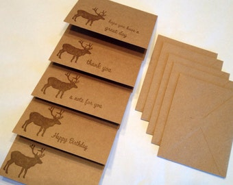Brown Elk Stamped Cards - Assorted Messages - Set of 5
