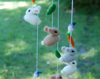 Needle Felted Bunny Mobile With Garden Vegetables Handmade