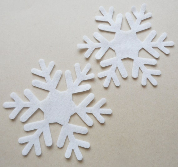 Felt snowflake White, set of 6 pieces