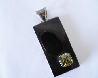 Oversized Sterling Pendant with Green Quartz