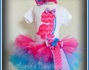 Pink dinosaur birthday outfit - girls dinosaur tutu outfit - 1st birthday outfit- dinosaur costume - dino tutu - girly dinosaur outfit