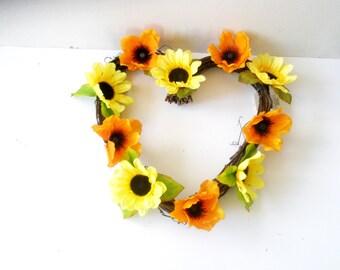 Orange  Poppy  flowers  wreath , heart wreath , sunflower wreath,  decoration,orange poppy  Wreath, summer Wreath, Front Door Wreath