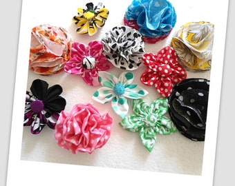 Fabric Flower Tutorial Bundle, INSTANT DOWNLOAD, Five Flower Pattern, pdf pattern