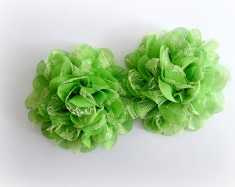 Lime Green Lace Chiffon Flowers. Lace and Chiffon Flowers.  2 pcs. SIOBHAN Collection.