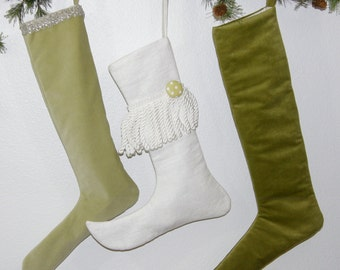 20% off Dark Sage Green Christmas stocking