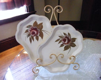 Vintage Tin Tole trays Set of two 5x7 Cream Bronze Rose