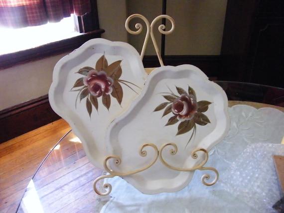 Vintage Tin Tole trays Set of two 5x7 Cream Bronze Rose