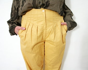 Vintage 80s Yellow Cropped High Waist Pleated Yoke Pin Up Pants