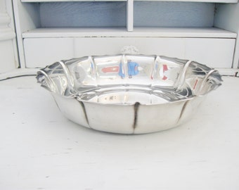Vintage Scallop Silver Bowl, Hollywood Regency Silver Bowl