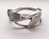 Organic Leaf Branch Ring Silver Pixie Ring Woodland Ring - Sterling Silver (925)