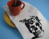 Large super soft flour sack towel with FLOWER SKULL print for your kitchen or bathroom.