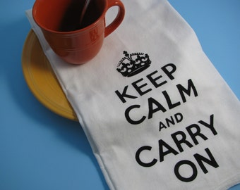 Large super soft flour sack towel with KEEP CALM and CARRY on print for your kitchen or bathroom.