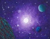 16X20 Gallery Wrapped Stretched Canvas Print PURPLE SPACE by K. Graham Stars Galaxies Purple Sky Super Nova Star Alien World Green Clouds
