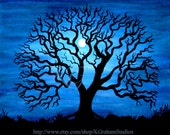 NIGHT TREE 8x10 Photographic Print  from Original Painting by K Graham Spooky Tree Silhouette Deep Blue Sky Full moon