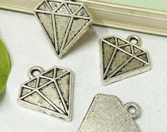Diamonds -30pcs Antique Silver classic Diamond Charm Pendants 16x18mm A308-5