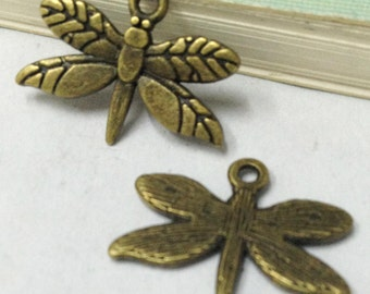 25pcs Antique Bronze Lovely Dragonfly Charm Pendants 15x20mm HD36