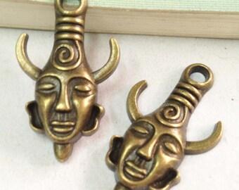 15pcs Antique Bronze Mysterious Horn Man Mask Charm Pendant 19x32mm F505-3