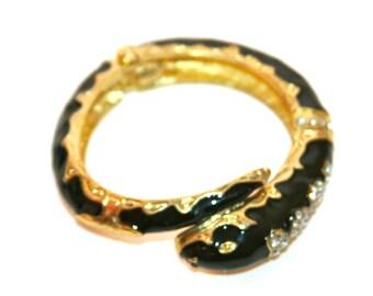 VIntage Snake Bracelet - Hinged Enamel on Gold Tone bracelet