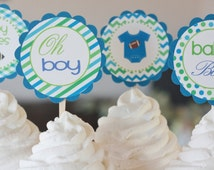 12 Chevron Blue Green Bodysuit Owl Elephant Football Bowtie Baby Feet Rockstar Theme Baby Shower Cupcake or Cake Toppers - Party Pack Sales