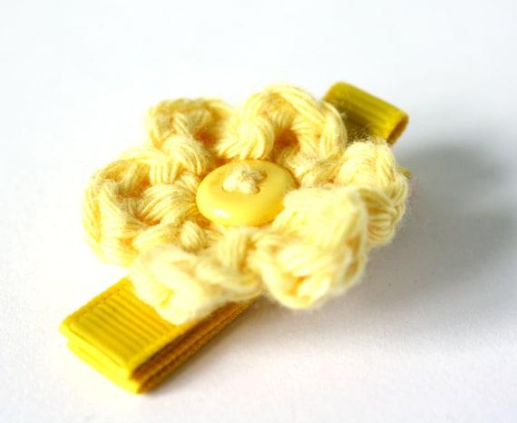 Sunshine Yellow Crochet Flower Alligator Hair Clip