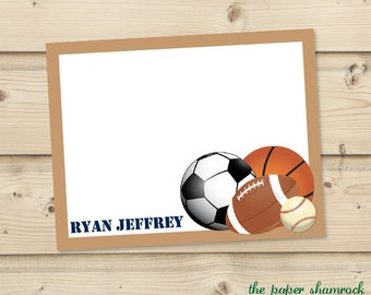 Sports - Kids Thank you Cards, Printable Thank you Cards for Kids, Personalized Note Cards for Kids