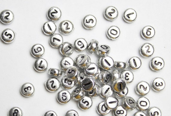 Silver colored number beads 7mm round 500 pcs by alphabitsy for Round metal letter beads